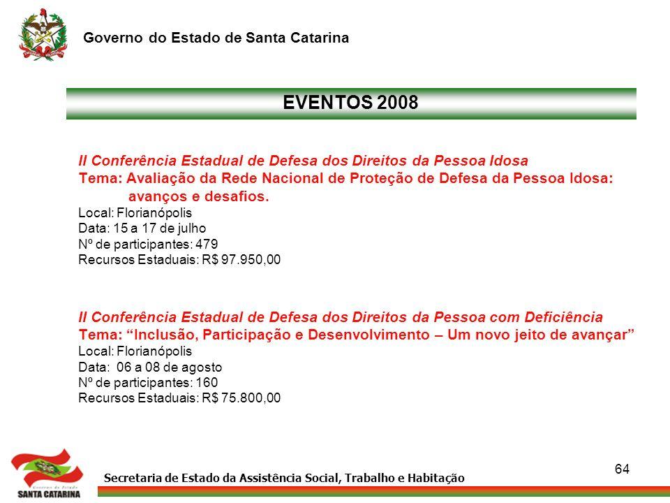 EVENTOS 2008 II Conferência Estadual de Defesa dos Direitos da Pessoa Idosa. Tema: Avaliação da Rede Nacional de Proteção de Defesa da Pessoa Idosa: