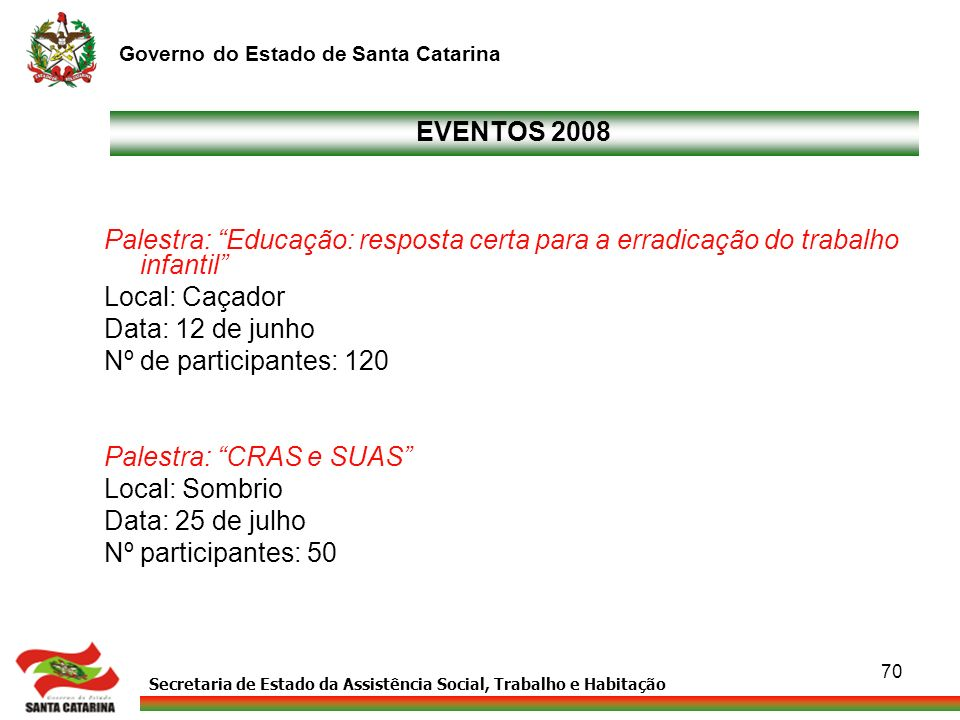 EVENTOS 2008 Palestra: Educação: resposta certa para a erradicação do trabalho infantil Local: Caçador.