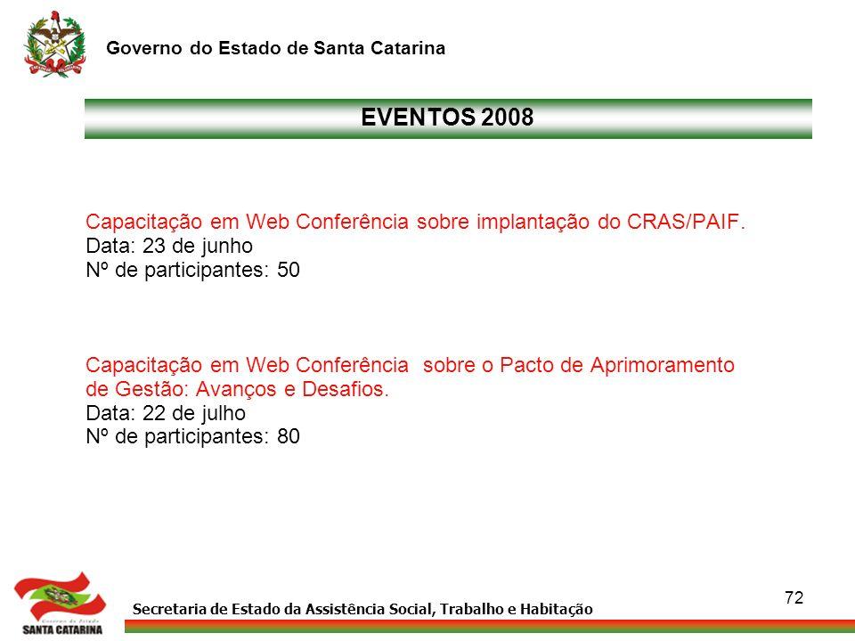 EVENTOS 2008 Capacitação em Web Conferência sobre implantação do CRAS/PAIF. Data: 23 de junho. Nº de participantes: 50.