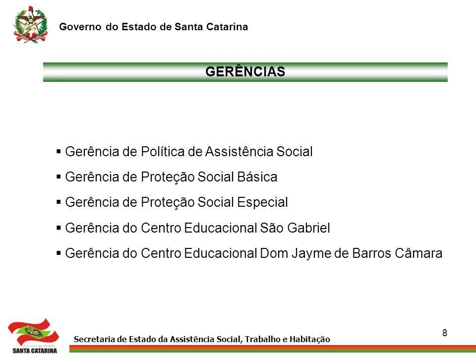 GERÊNCIAS Gerência de Política de Assistência Social. Gerência de Proteção Social Básica. Gerência de Proteção Social Especial.