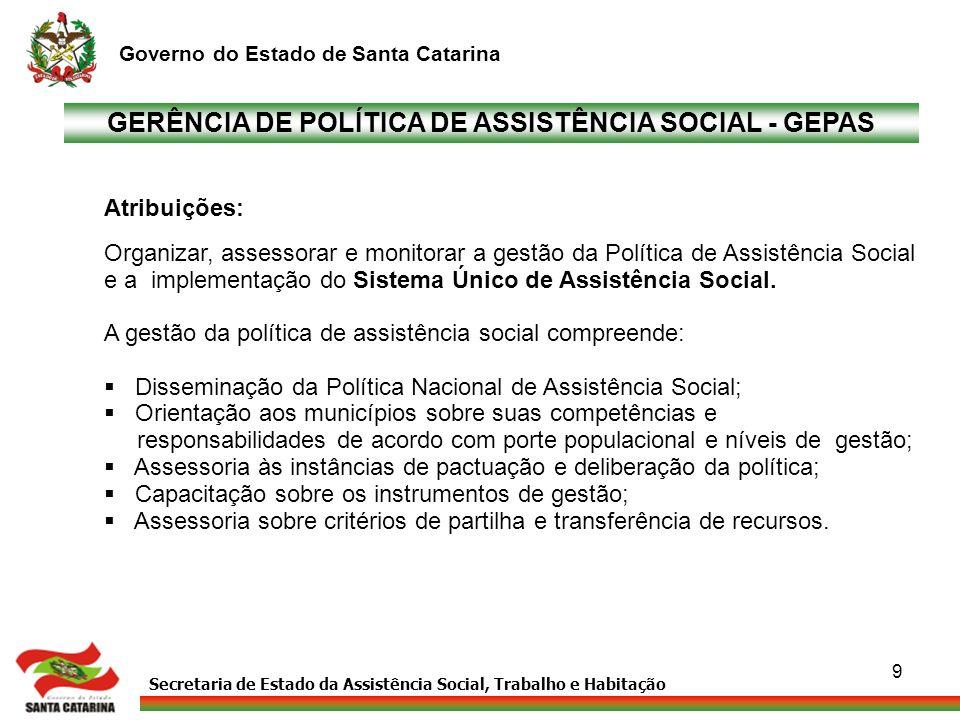 GERÊNCIA DE POLÍTICA DE ASSISTÊNCIA SOCIAL - GEPAS