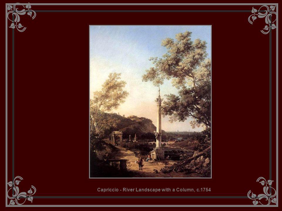 Capriccio - River Landscape with a Column, c.1754