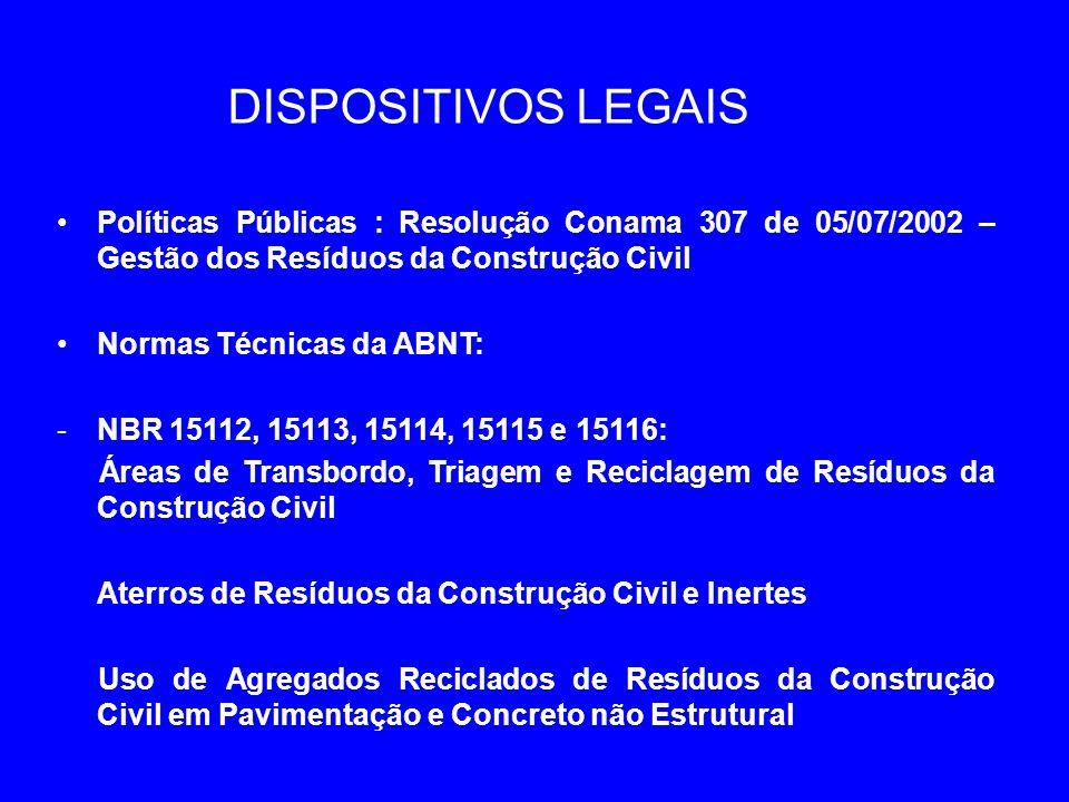 DISPOSITIVOS LEGAIS Políticas Públicas : Resolução Conama 307 de 05/07/2002 – Gestão dos Resíduos da Construção Civil.