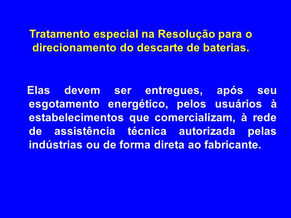 Tratamento especial na Resolução para o direcionamento do descarte de baterias.