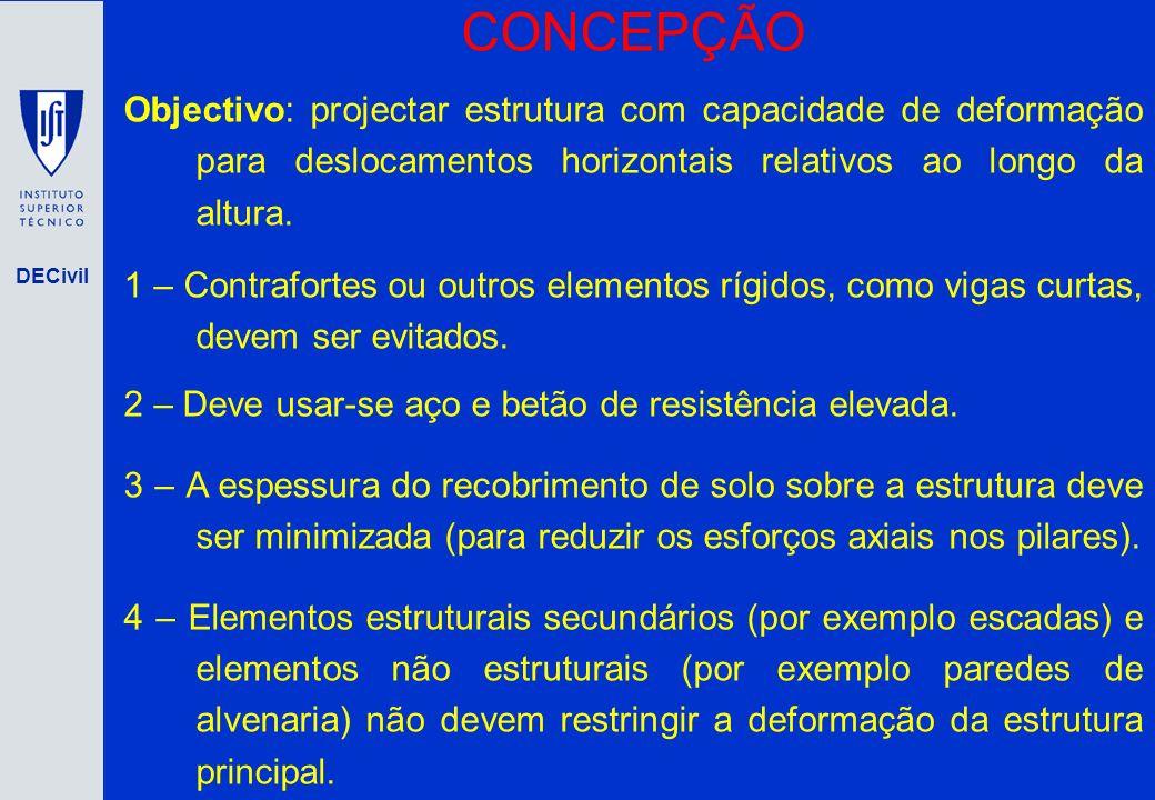 CONCEPÇÃO Objectivo: projectar estrutura com capacidade de deformação para deslocamentos horizontais relativos ao longo da altura.