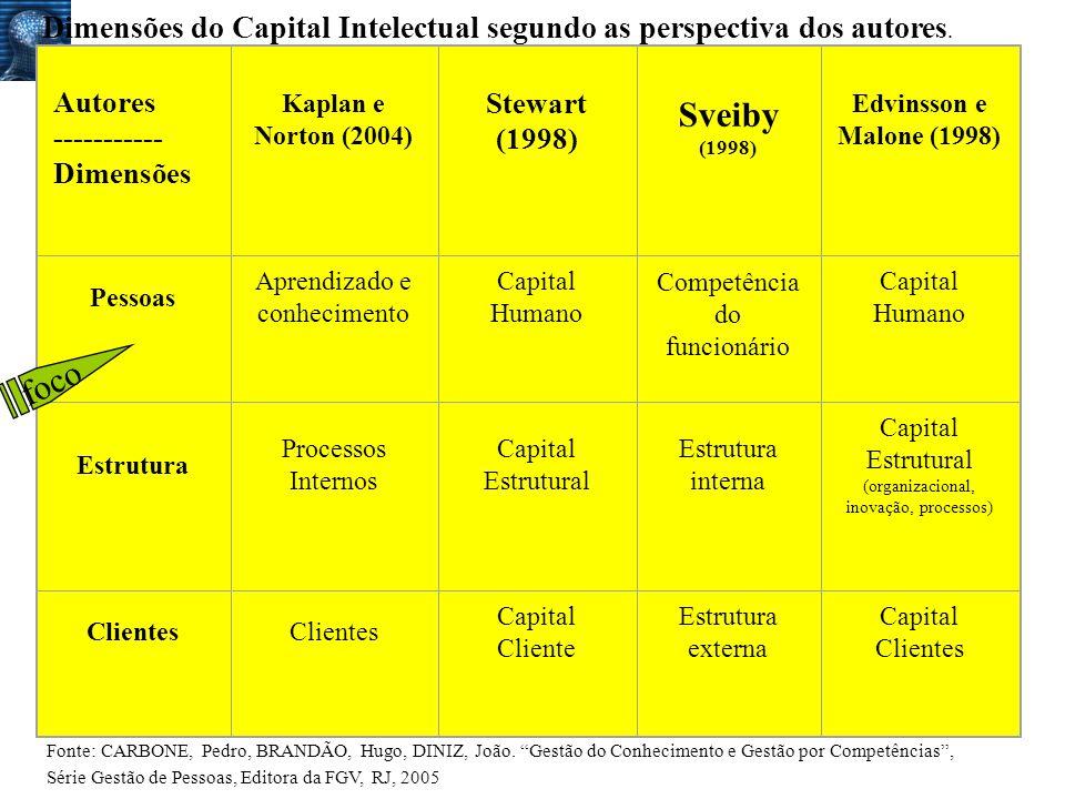Dimensões do Capital Intelectual segundo as perspectiva dos autores.