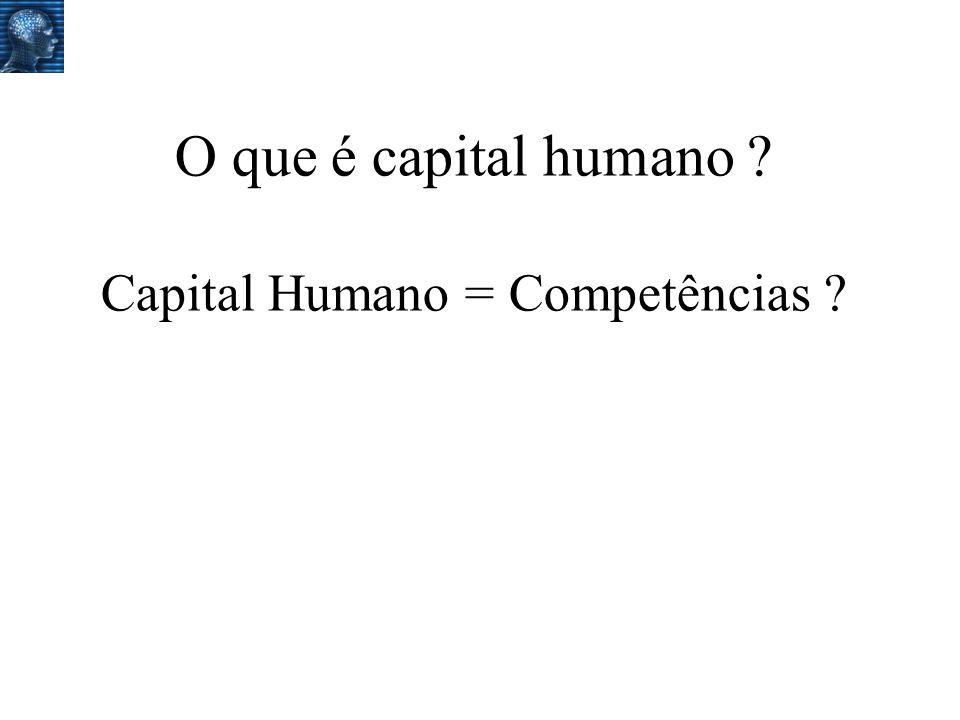 O que é capital humano Capital Humano = Competências