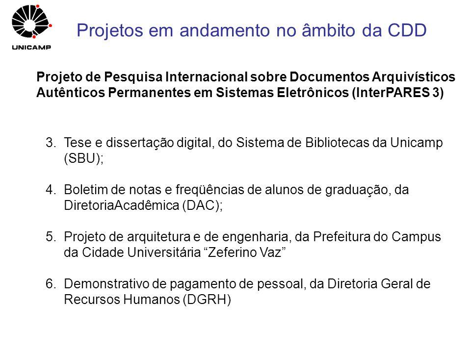 Projetos em andamento no âmbito da CDD
