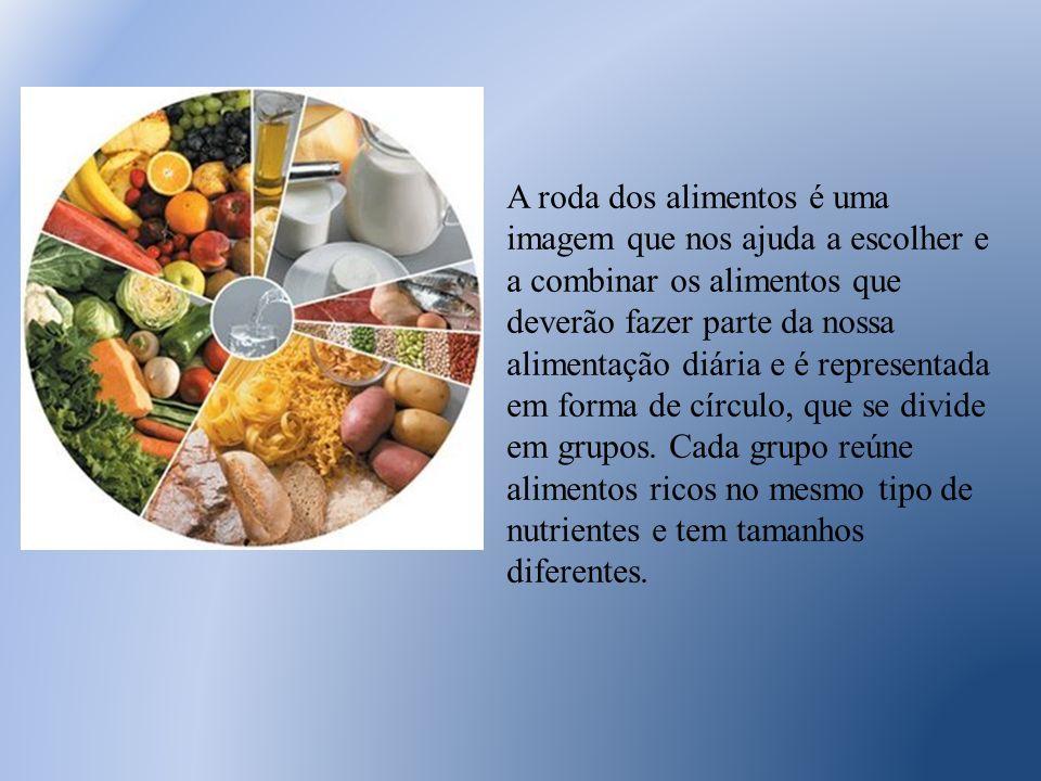 A roda dos alimentos é uma imagem que nos ajuda a escolher e a combinar os alimentos que deverão fazer parte da nossa alimentação diária e é representada em forma de círculo, que se divide em grupos.