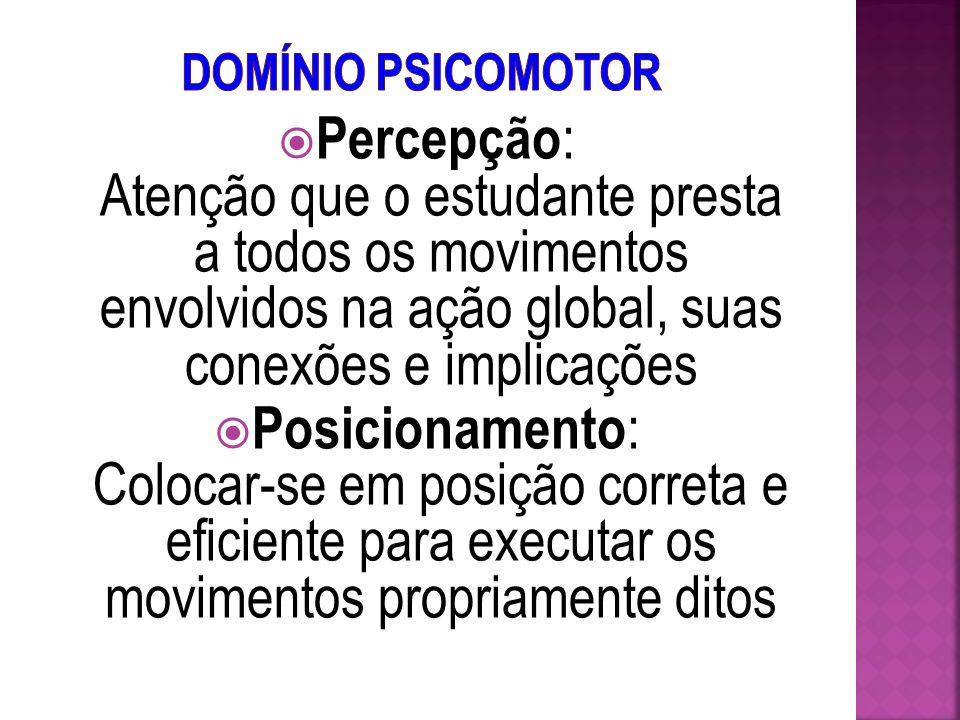 Domínio Psicomotor Percepção: Atenção que o estudante presta a todos os movimentos envolvidos na ação global, suas conexões e implicações.