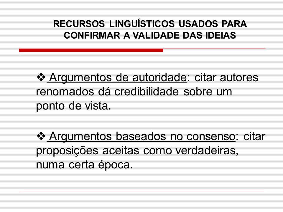 RECURSOS LINGUÍSTICOS USADOS PARA CONFIRMAR A VALIDADE DAS IDEIAS