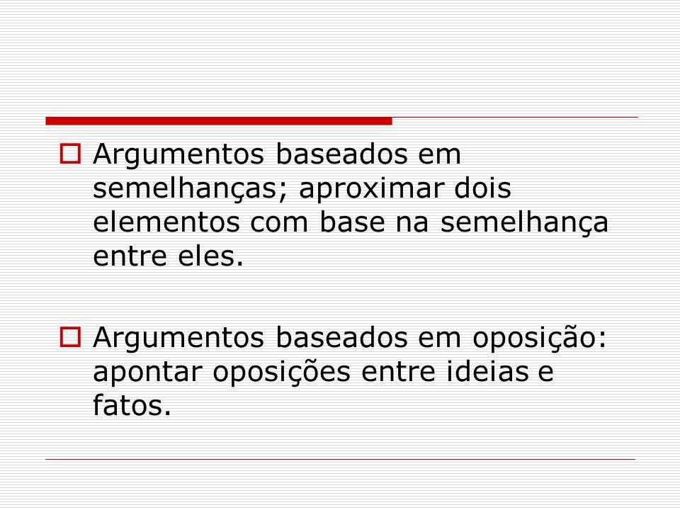Argumentos baseados em semelhanças; aproximar dois elementos com base na semelhança entre eles.