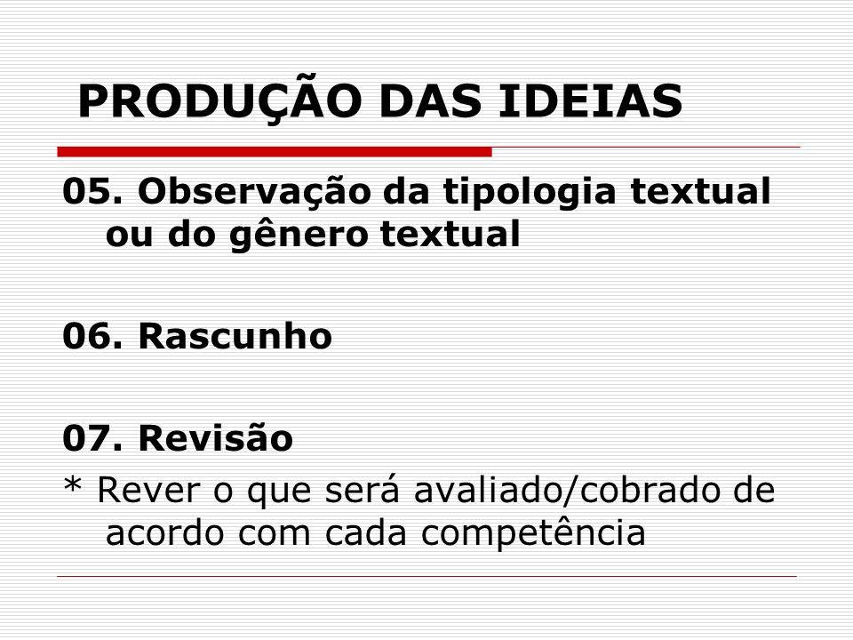 PRODUÇÃO DAS IDEIAS 05. Observação da tipologia textual ou do gênero textual. 06. Rascunho. 07. Revisão.