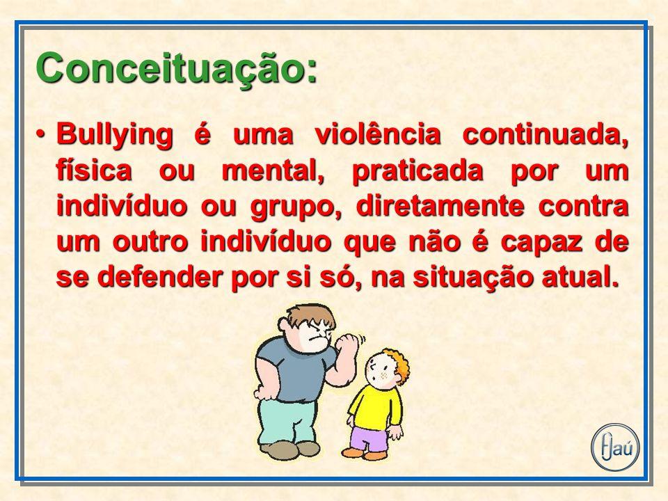 Bullying é uma violência continuada, física ou mental, praticada por um indivíduo ou grupo, diretamente contra um outro indivíduo que não é capaz de se defender por si só, na situação atual.