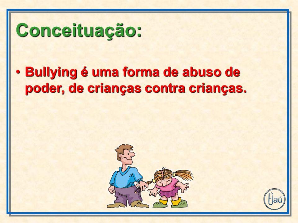 Bullying é uma forma de abuso de poder, de crianças contra crianças.