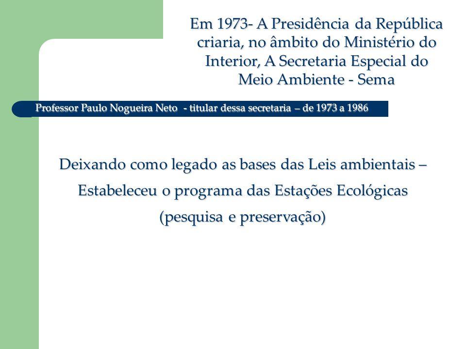 Em 1973- A Presidência da República criaria, no âmbito do Ministério do Interior, A Secretaria Especial do Meio Ambiente - Sema