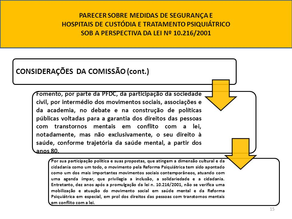 CONSIDERAÇÕES DA COMISSÃO (cont.)