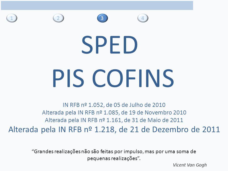 1 2. 3. 4. SPED. PIS COFINS. IN RFB nº 1.052, de 05 de Julho de 2010. Alterada pela IN RFB nº 1.085, de 19 de Novembro 2010.