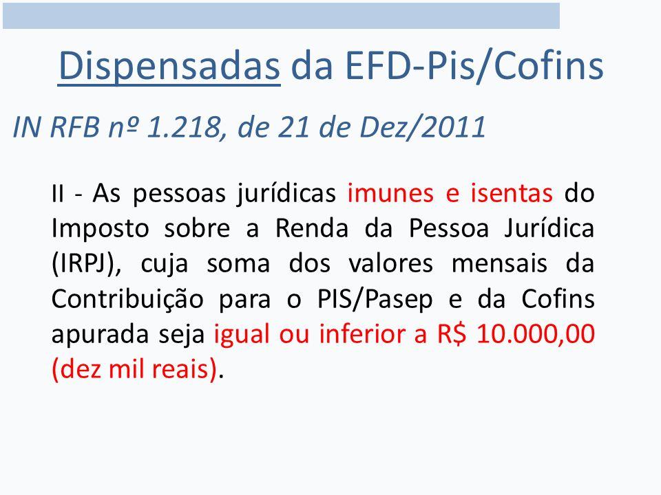 Dispensadas da EFD-Pis/Cofins