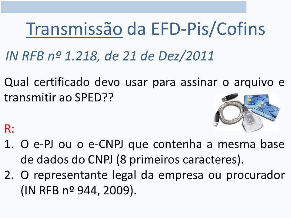 Transmissão da EFD-Pis/Cofins