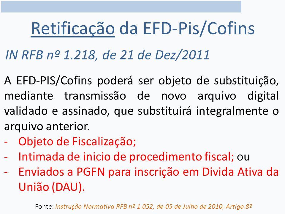 Retificação da EFD-Pis/Cofins
