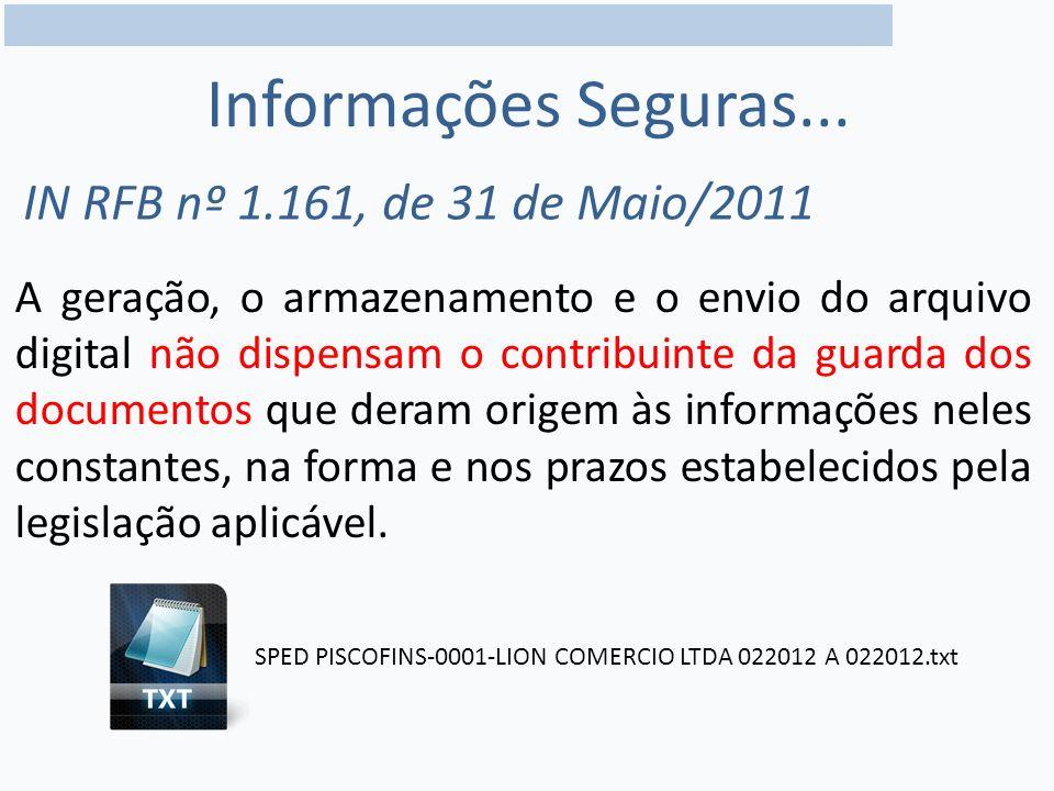 Informações Seguras... IN RFB nº 1.161, de 31 de Maio/2011