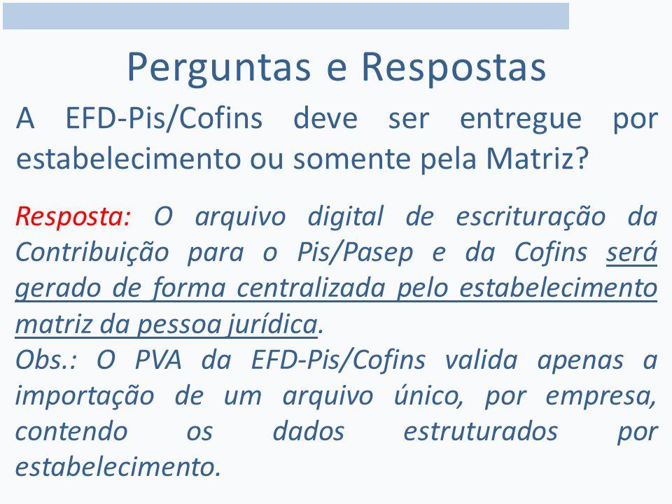 Perguntas e Respostas A EFD-Pis/Cofins deve ser entregue por estabelecimento ou somente pela Matriz