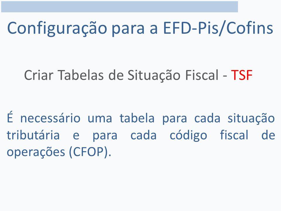Configuração para a EFD-Pis/Cofins