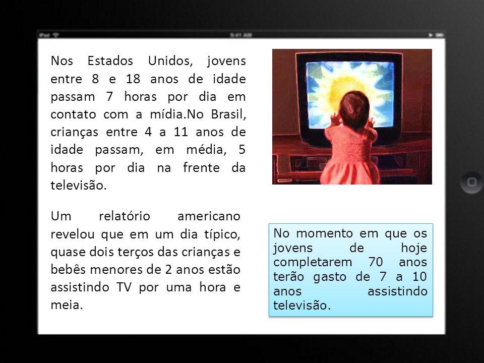 Nos Estados Unidos, jovens entre 8 e 18 anos de idade passam 7 horas por dia em contato com a mídia.No Brasil, crianças entre 4 a 11 anos de idade passam, em média, 5 horas por dia na frente da televisão.