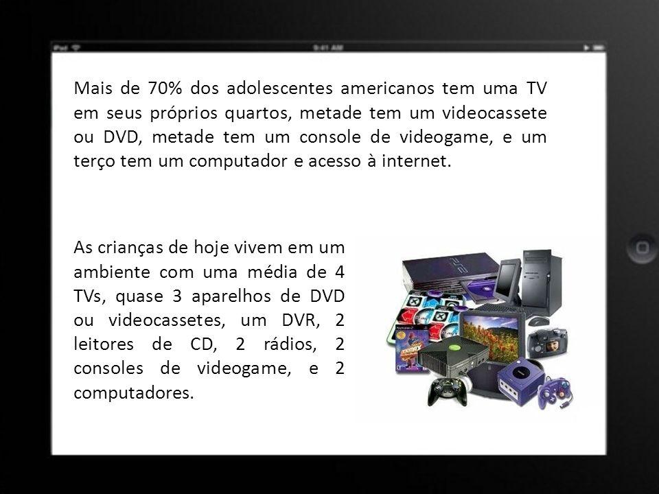Mais de 70% dos adolescentes americanos tem uma TV em seus próprios quartos, metade tem um videocassete ou DVD, metade tem um console de videogame, e um terço tem um computador e acesso à internet.
