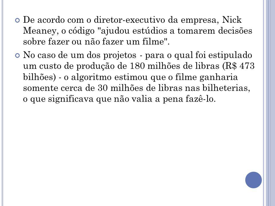 De acordo com o diretor-executivo da empresa, Nick Meaney, o código ajudou estúdios a tomarem decisões sobre fazer ou não fazer um filme .