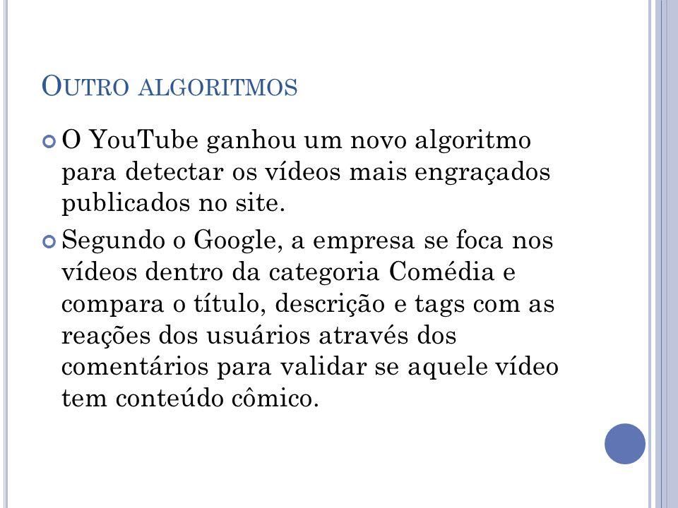Outro algoritmos O YouTube ganhou um novo algoritmo para detectar os vídeos mais engraçados publicados no site.