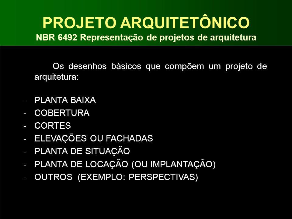 PROJETO ARQUITETÔNICO NBR 6492 Representação de projetos de arquitetura