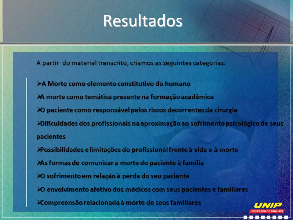 Resultados A partir do material transcrito, criamos as seguintes categorias: A Morte como elemento constitutivo do humano.