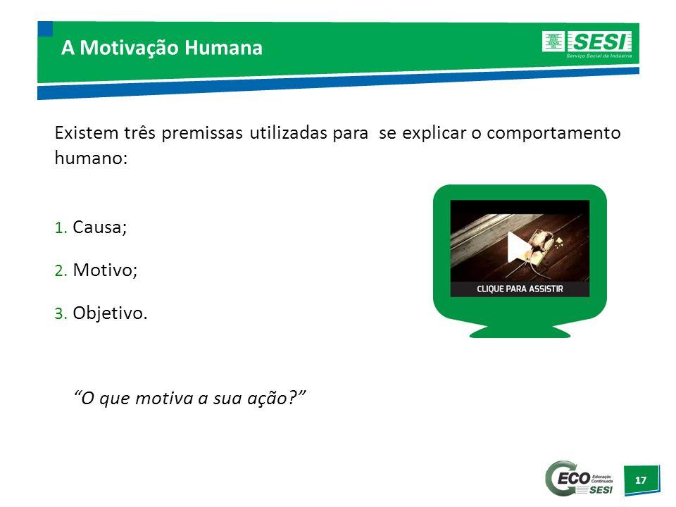 A Motivação Humana Existem três premissas utilizadas para se explicar o comportamento humano: Causa;