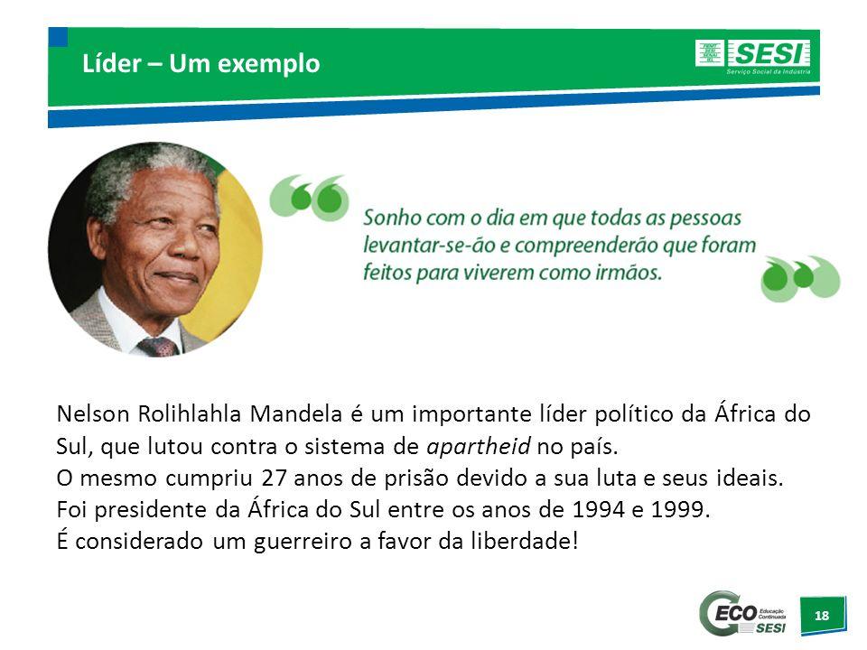 Líder – Um exemplo Nelson Rolihlahla Mandela é um importante líder político da África do Sul, que lutou contra o sistema de apartheid no país.
