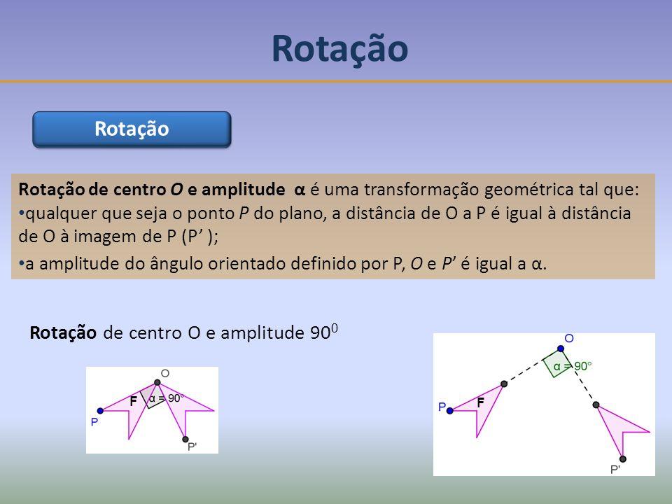 Rotação Rotação Rotação de centro O e amplitude 900