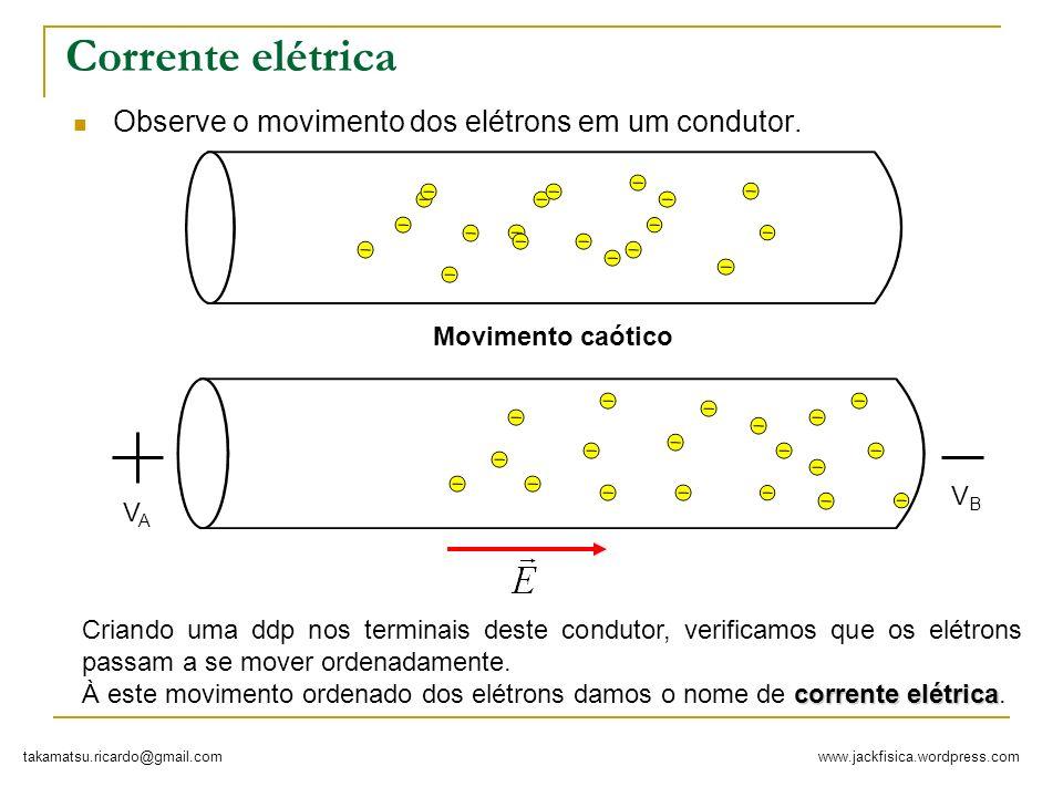 Corrente elétrica Observe o movimento dos elétrons em um condutor.