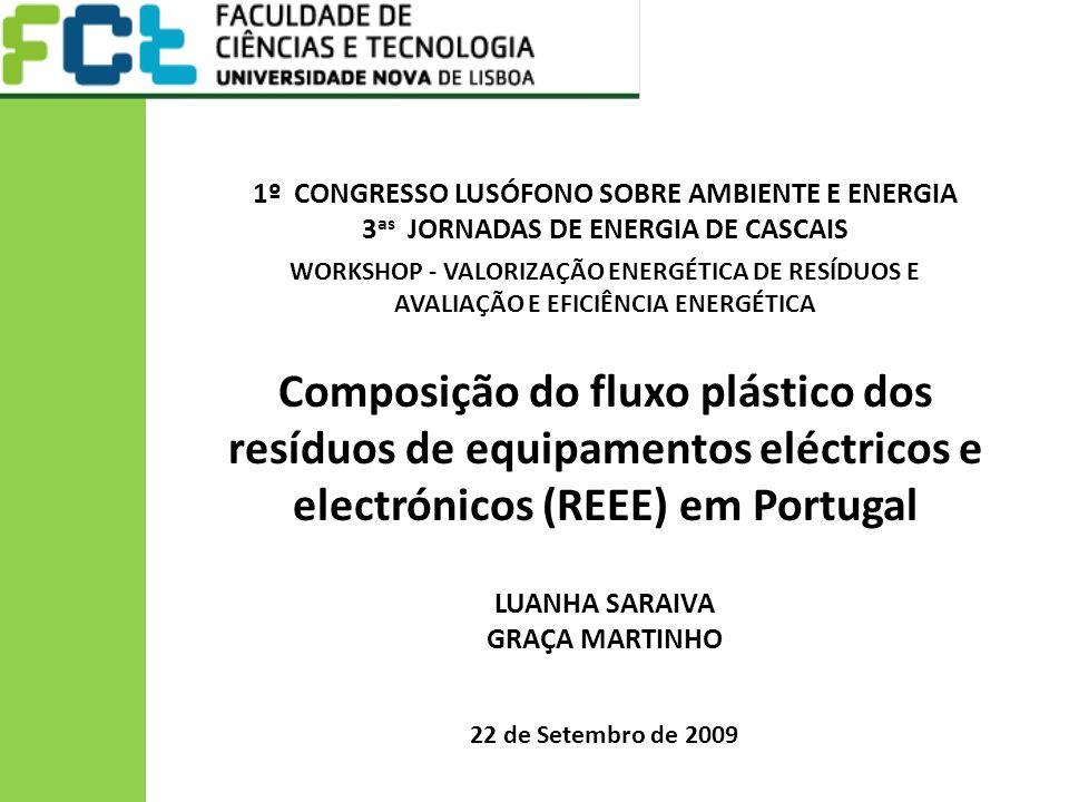 Composição do fluxo plástico dos resíduos de equipamentos eléctricos e
