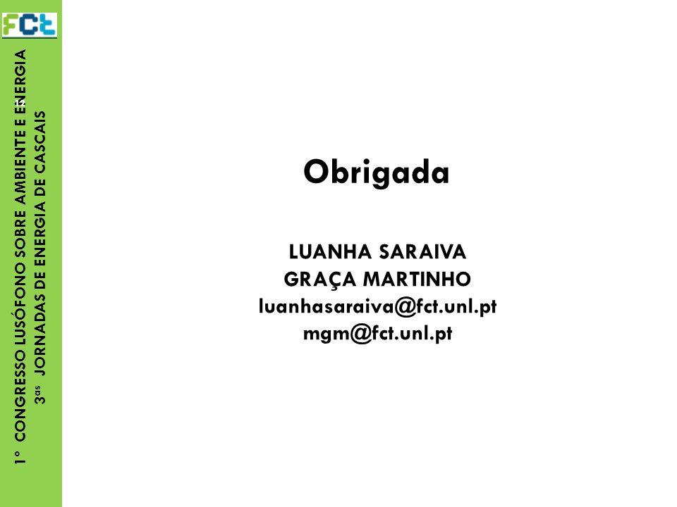 Obrigada LUANHA SARAIVA GRAÇA MARTINHO luanhasaraiva@fct.unl.pt