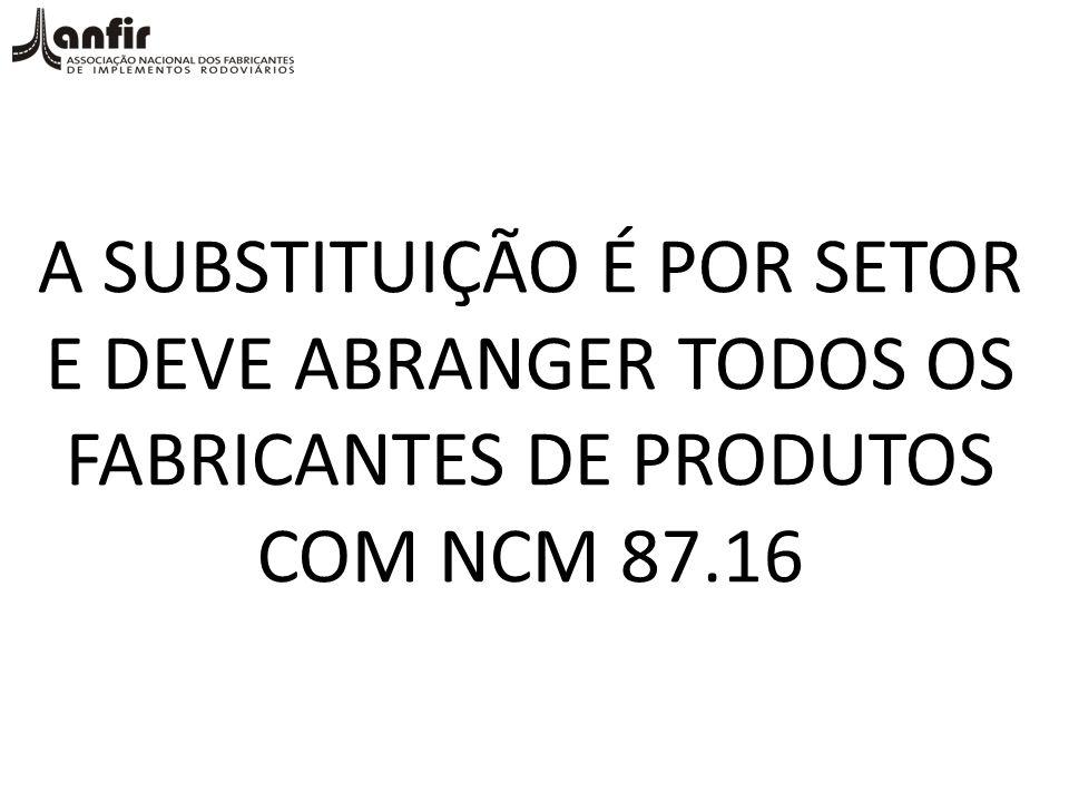 A SUBSTITUIÇÃO É POR SETOR E DEVE ABRANGER TODOS OS FABRICANTES DE PRODUTOS COM NCM 87.16