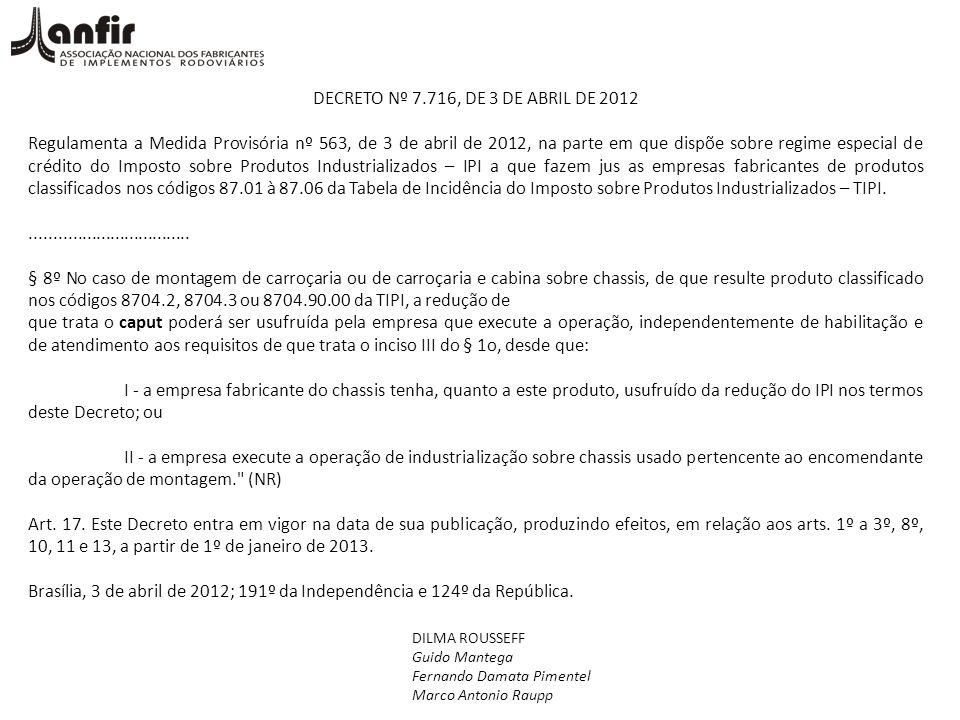 DECRETO Nº 7.716, DE 3 DE ABRIL DE 2012