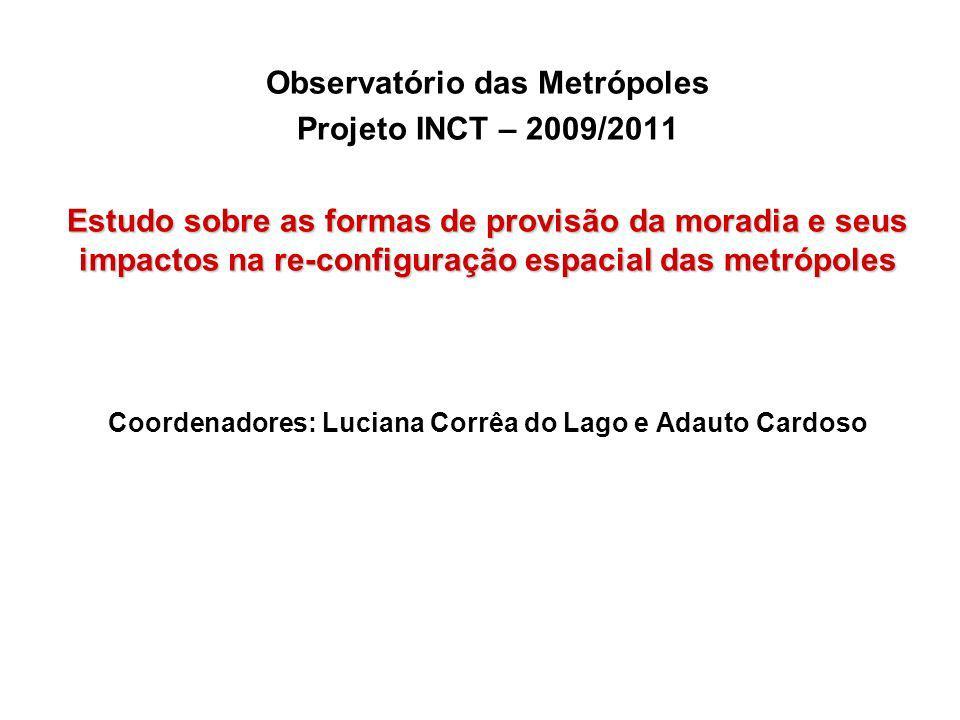 Observatório das Metrópoles Projeto INCT – 2009/2011