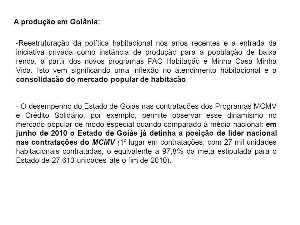 A produção em Goiânia: