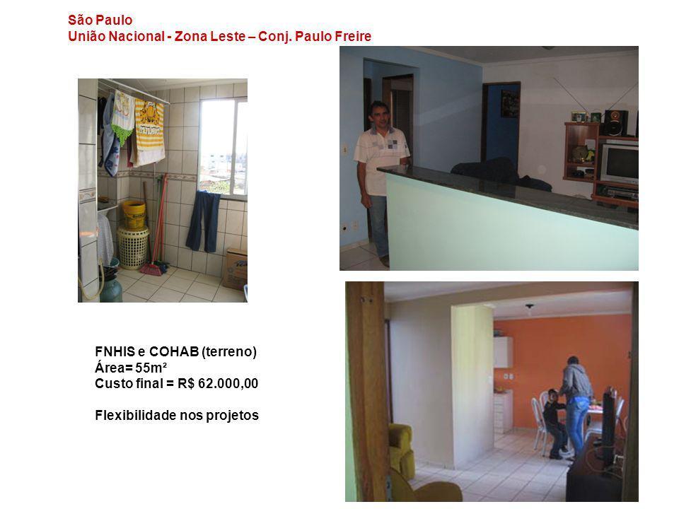 São Paulo União Nacional - Zona Leste – Conj. Paulo Freire. FNHIS e COHAB (terreno) Área= 55m². Custo final = R$ 62.000,00.