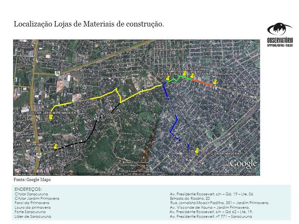 Localização Lojas de Materiais de construção.