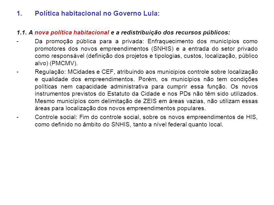Política habitacional no Governo Lula: