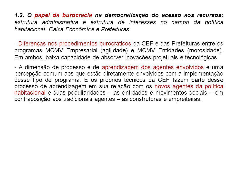 1.2. O papel da burocracia na democratização do acesso aos recursos: estrutura administrativa e estrutura de interesses no campo da política habitacional: Caixa Econômica e Prefeituras.
