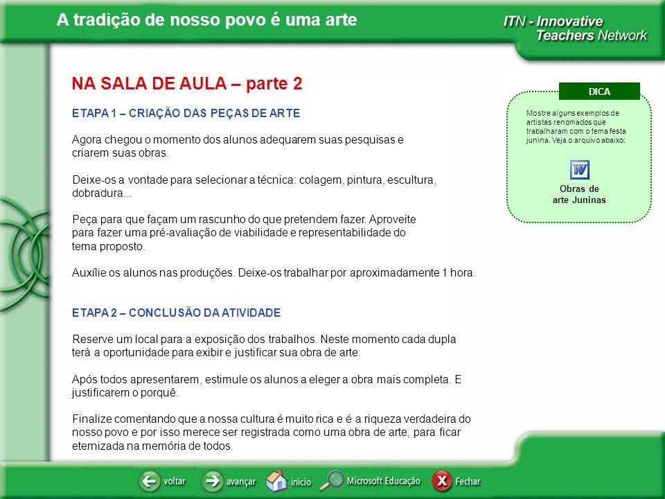 NA SALA DE AULA – parte 2 ETAPA 1 – CRIAÇÃO DAS PEÇAS DE ARTE