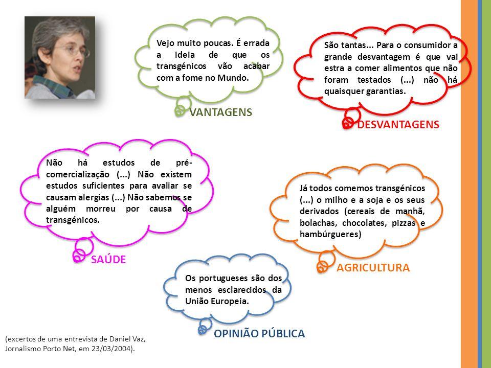 VANTAGENS DESVANTAGENS SAÚDE AGRICULTURA OPINIÃO PÚBLICA